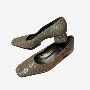 Stuart Weitzman | Tan Square Toe Block Short Heel